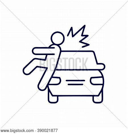Collision With Pedestrian Thin Line Icon. Vehicle Knock Down Man With Smash Symbol, Outline Style Pi
