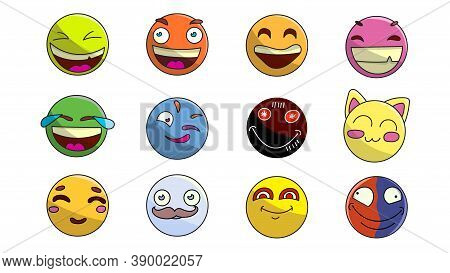 Modern Flat Icon Design Set Of Emoticons. High-quality Flat Icon Design.