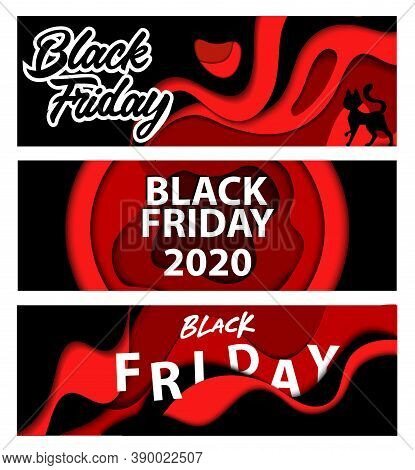 Best Deals And Sales On Black Friday 2020 Concept. Contrasty Horizontal Layered Banners Set With Ins