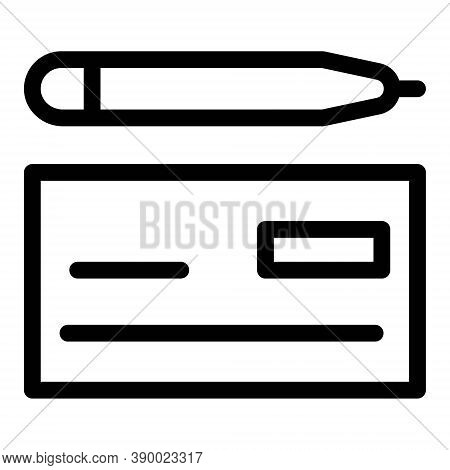 Bank Cheque And Pencil Icon. Writing Cheque Symbol. Card, Account Details, Bank Receipt Icon Illustr
