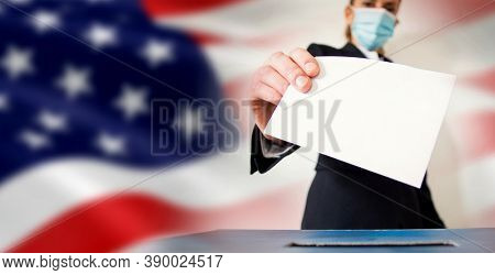 banner of woman wearing mask putting vote in ballot in front of USA flag elections during covid