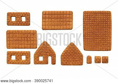 Making Gingerbread House For Christmas. Parts Of House Isolated On White Background. Christmas Cooki