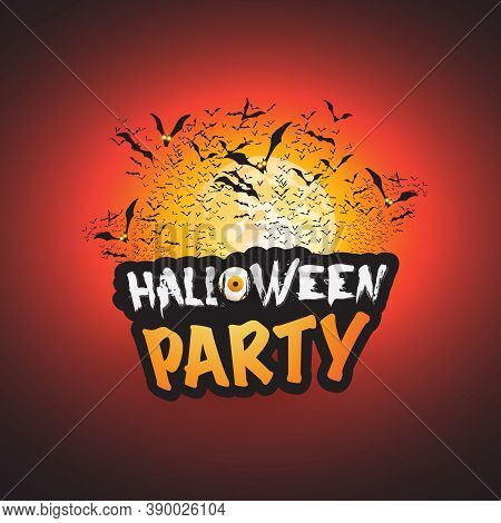 Halloween Party Card Template With Lots Of Flying Bats - Vector Illustration