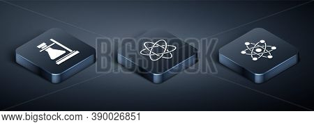 Set Isometric Test Tube Flask On Stand, Atom And Atom Icon. Vector