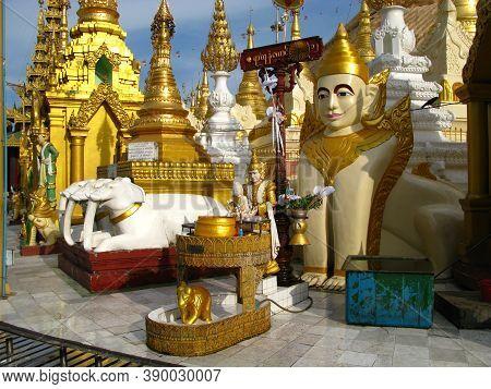 Yangon, Myanmar - 04 Jan 2010: The Temple Shwedagon Pagoda In Yangon, Rangoon, Myanmar