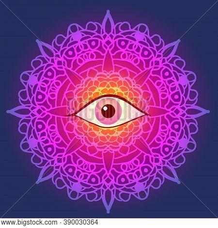 Spiritual Eye Centered Indian Multicolored Mandala Background