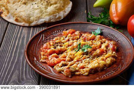 Dish Of Turkish Or Caucasian Cuisine (abu Ganush, Baba Ganush, Ajapsandali). Grilled Vegetables, Pee