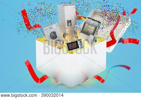 Home Appliances Inside Gift Box. 3d Rendering On Blue Background