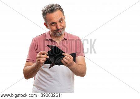 Sad Adult Man Model Wearing Summer Attire Presenting Empty Wallet As No Finance Money Poor Broke Con