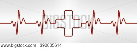 Heartbeat Line With Cross Shape. One Red Plus In Pulse. Cardio Rate. Electrocardiogram Or Ecg. Healt