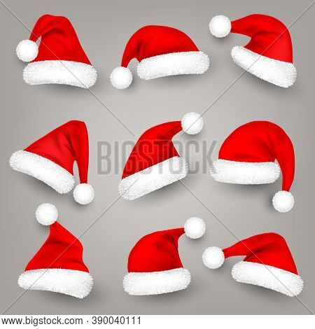 Christmas Santa Claus Hats With Fur. New Year Red Hat. Winter Cap. Vector Illustration.