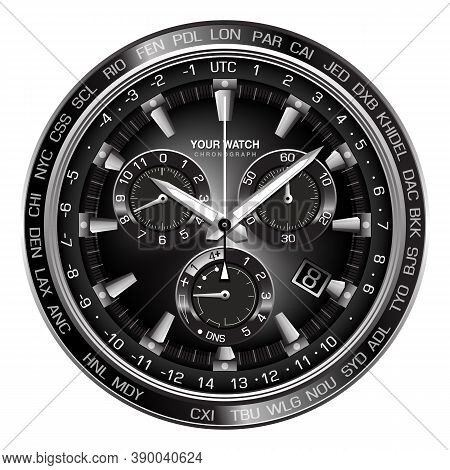 Realistic Silver Black Steel Clock Watch Chronograph Dashboard Face On White Background Design Luxur