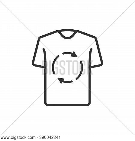 Laundry And Dry Cleaning Icon. Second Hand Concept. T-shirt Icon With Recycling Line Icon.