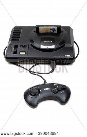London, United Kingdom, 21st September 2020:- A Retro Sega Mega Drive 16-bit Gaming Console With Con