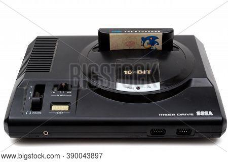 London, United Kingdom, 21st September 2020:- A Retro Sega Mega Drive 16-bit Gaming Console With Son