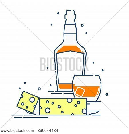 Bottle Of Whiskey And Glass With Snack Cheese. Set Of Alcoholic Drink And Appetizer. Isolated Flat I