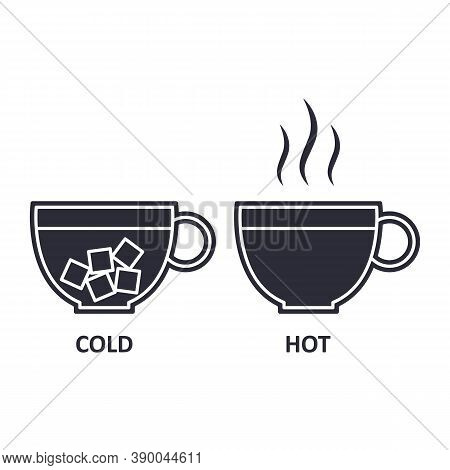 Cold And Hot Cup Icon. Steam And Ice. Icy And Warm Beverage.