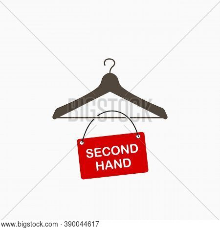Second Hand Concept. Hanger Icon With Red Table. Sale Of Clothes Flat Icon.