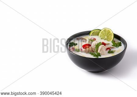 Traditional Thai Food Tom Kha Gai Isolated On White Background. Copy Space
