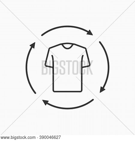 T-shirt Icon With Recycling Line Icon. Laundry And Dry Cleaning Icon. Second Hand Concept.
