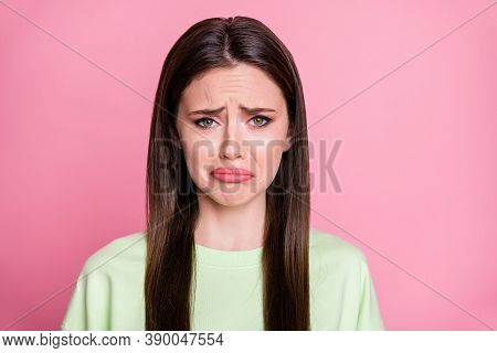 Closeup Photo Of Depressed Lady Straight Long Hairdo Moody Disappointed Crying Desperate Offended Bo