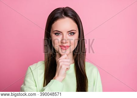 Closeup Photo Of Funny Attractive Lady Straight Long Hairdo Hand Finger On Chin Clever Creative Pers