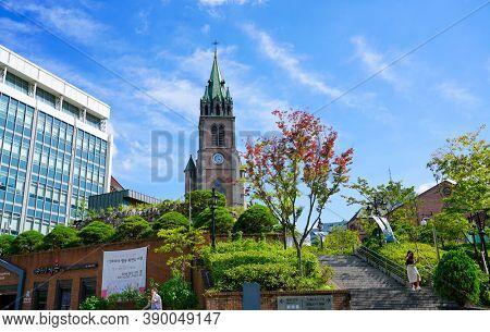 Seoul, Republic of Korea - July 2019: Myeongdong Catholic Cathedral, Roman Catholic Church community in Korea.