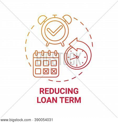 Reducing Loan Term Concept Icon. Mortgage Refinance Benefit Idea Thin Line Illustration. Monthly Rep