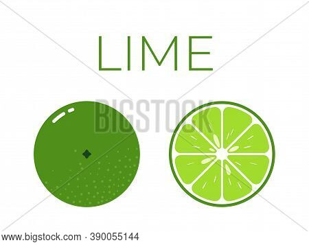 Vector Of Lime And Sliced Half Of Lime On White Background
