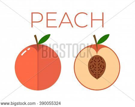 Vector Of Peach And Sliced Half Of Peach On White Background