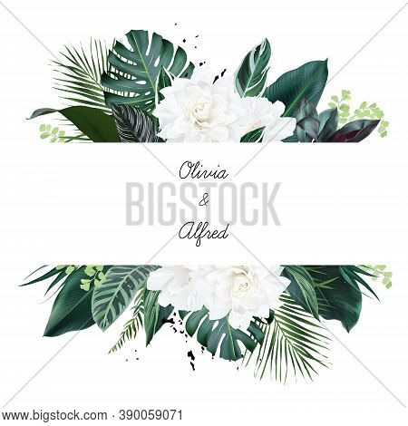 White Gardenia, Hibiscus, Green Monstera, Palm Tropical Leaves Horizontal Card. Emerald Exotic Green