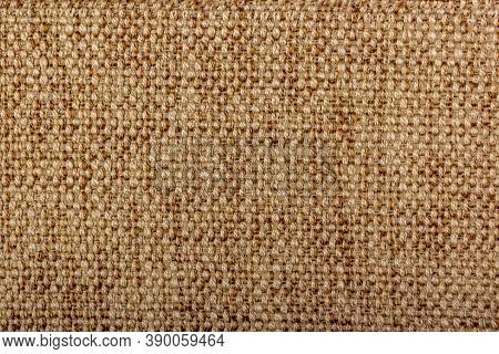 Factory Fabric With Brown And White Threads Interspersed. Close-up Long And Wide Texture Of Natural