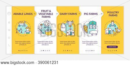 Farm Production Types Onboarding Vector Template. Arable Lands. Fruit And Vegetable Farms. Responsiv