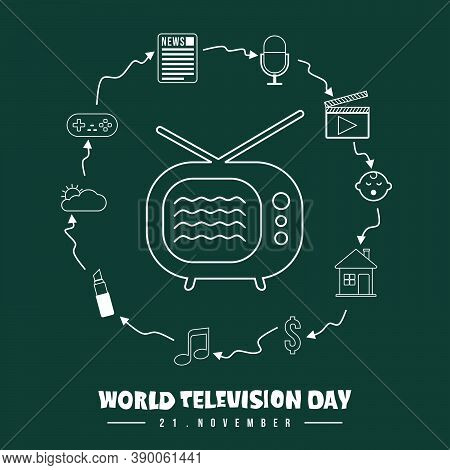 World Television Day Vector Illustration With Set Object Of Television Schedule Icon Vector Illustra