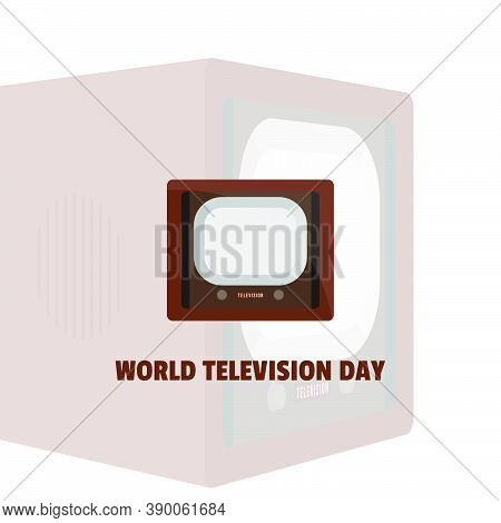 World Television Day With Vintage Television Vector Illustration. Good Template For Television Or Br