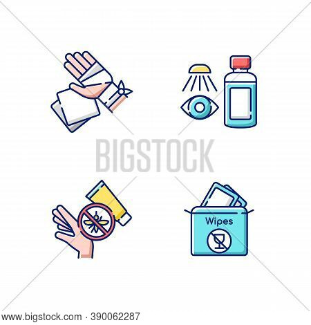 Emergency Medical Kit Rgb Color Icons Set. Gauze Bandage And Pads. Eyewash Cleanser. Insect Bite Cre