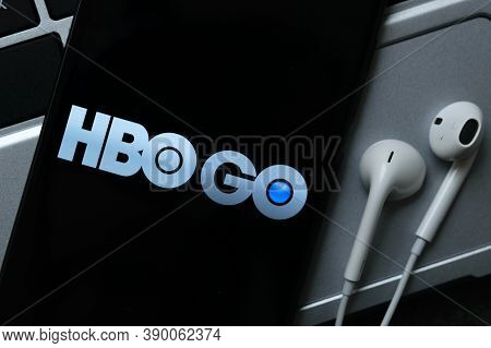 Krakow, Poland - October 07, 2020: Hbo Go Application Sign On The Smartphone Screen. Hbo Go Is A Fam