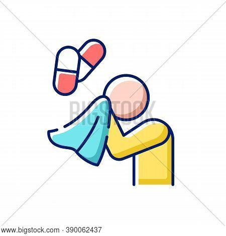 Antihistamine Medications Rgb Color Icon. Pill For Allergy Treatment. Flu Medication. Illness Remedy