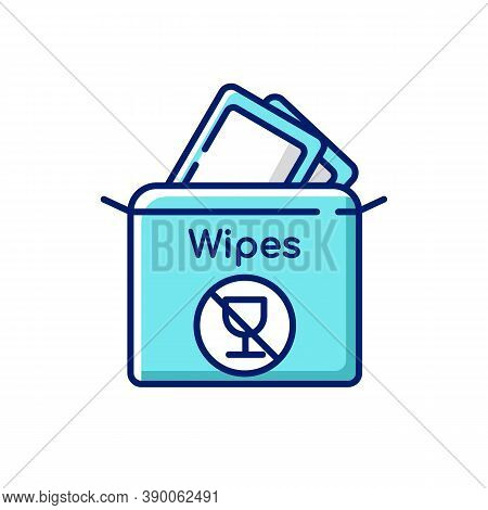 Alcohol Free Wipes Rgb Color Icon. Disinfectant Paper Towels. Sanitation Tissues For Hygiene. Cosmet