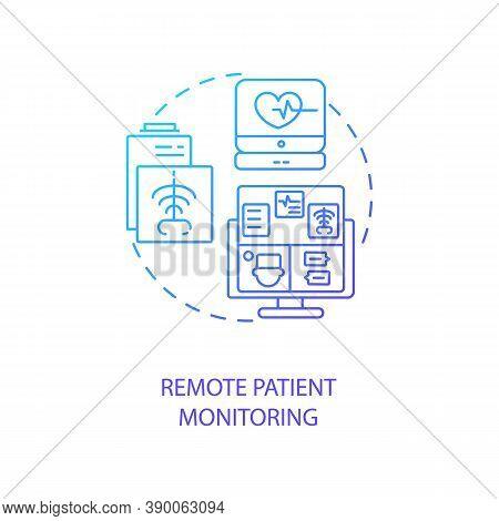 Remote Patient Monitoring Concept Icon. Telemedicine Service Types. Patient Online Monitoring Techno