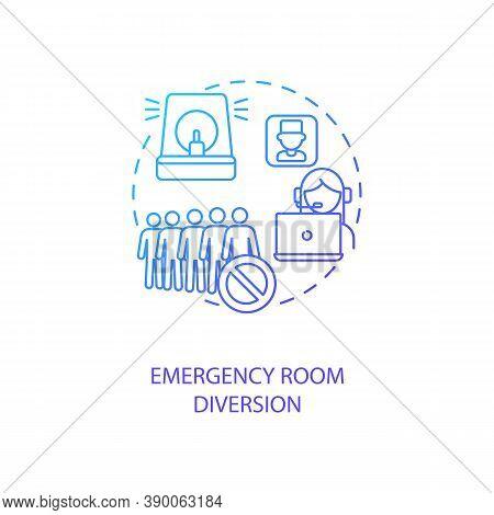 Emergency Room Diversion Concept Icon. Telemedicine Advantages. Pros Of Future Online Tele Medicine