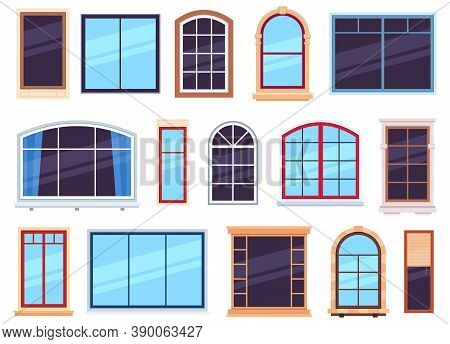 Window Frames. Exterior View Various Wooden And Detailed Plastic Windows, Casement Frames On House W
