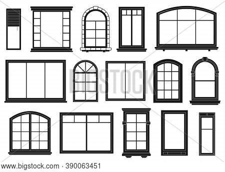 Window Silhouettes. Exterior Framing Windows, Black Outline Ornate Arches And Doors Architectural Bu