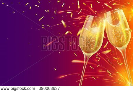 Happy New Year With Champagne Glasses. Festive Xmas Banner With Two Wineglasses With Sparkling Wine