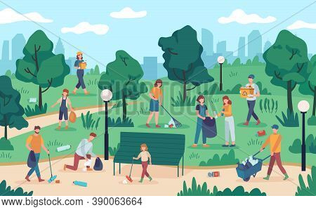People Cleaning Park. Community Team Collecting Rubbish From Nature. Vector Ecology Volunteers Prote