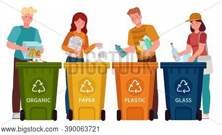 People Sorting Garbage. Men And Women Separate Waste And Throwing Trash Into Recycling Bins. Ecology