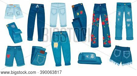Denim Jean Pants. Trendy Fashion Female Jeans. Cartoon Ripped Shorts And Trousers With Patches And T