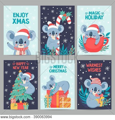 Koala Christmas. Happy Animals With Gift Boxes. Cute Merry Christmas Cards With Koalas. Little Austr
