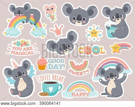 Magic Koala Stickers. Lazy Australian Koalas Sleeping On Rainbow. Patches With Cute Baby Animal Unic