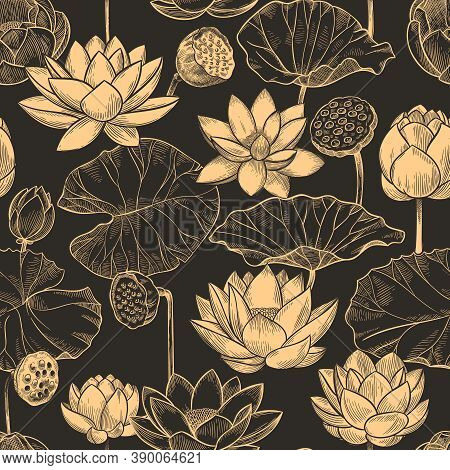 Sketch Lotus Seamless Pattern. Floral Composition Water Lily Flowers And Leaves, Monochrome Lotuses